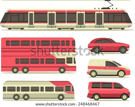 set of vehicles cars, trucks, and trains in the city flat style on a white background - stock vector
