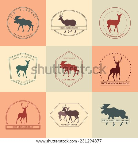 Set of venison products labels with deer and elk silhouettes. Hunter cook collection made in vector in retro style. Logos, badges and design elements. - stock vector