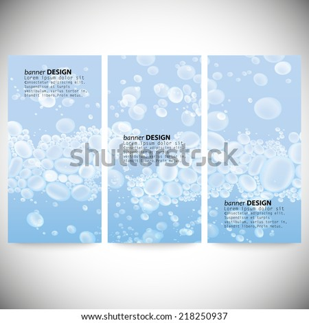 Set of vertical banners. Drops in the blue water vector background. - stock vector