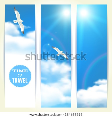 Set of Vertical Banners with Seagulls. Vector illustration, eps10, editable. - stock vector