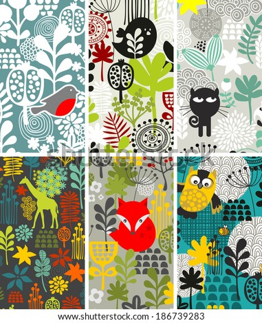 Set of vertical cards with birds and other animals. Vector illustration.  - stock vector
