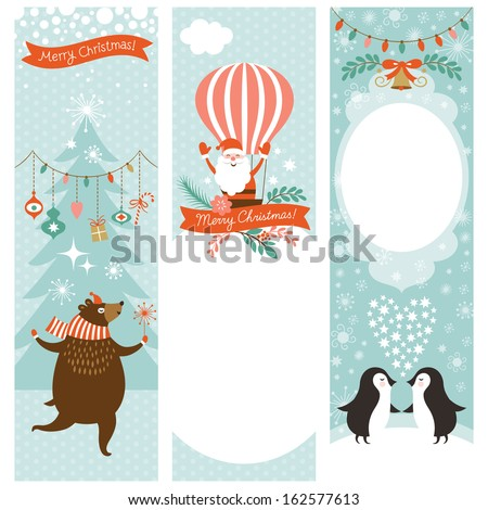 set of vertical Christmas banners  - stock vector