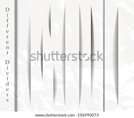 Set of vertical design shadow forms - stock vector