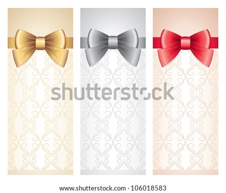 set of vertical gift cards with glossy bows - stock vector