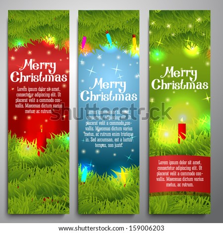 Set of vertical Merry Christmas banners decorated by pine wreath with candles, baubles, lights. With hand written Merry Christmas greeting. Vector. - stock vector