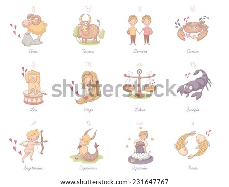 Set of very cute zodiac signs. EPS 10. No transparency. No gradients. - stock vector