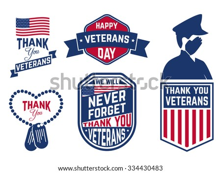 Set of Veterans Day labels,stamps and design element. Happy Veterans Day. Vector illustration. - stock vector