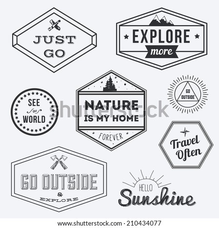 Set of vintage adventure badges and outdoors logo emblems - stock vector