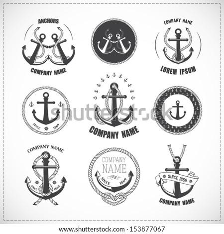 Set of vintage anchors with ropes - stock vector