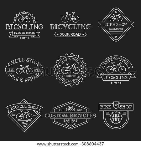 Set of vintage and modern bicycle shop logos, labels, badges and design elements. Business signs templates, icons, identity design elements and objects. - stock vector