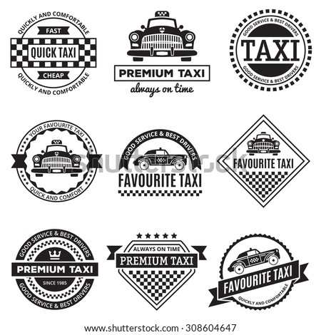 Set of vintage and modern taxi logos, taxi labels, taxi badges and taxi design elements. Taxi service Business signs templates, icons,  taxi corporate identity design elements and objects. - stock vector