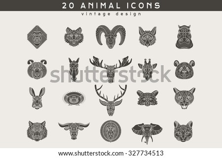 Set of vintage animal icons. Retro vector design  labels, badges, graphic element, emblem, logo, insignia, sign, identity, logotype, poster. - stock vector