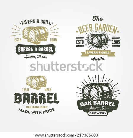 Set of vintage badge, label, logo template designs with wooden barrels for beer house, bar, pub, brewing company, brewery, tavern, restaurant, winery, wine whiskey market  - stock vector