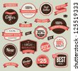 Set of vintage badges and ribbons - stock vector