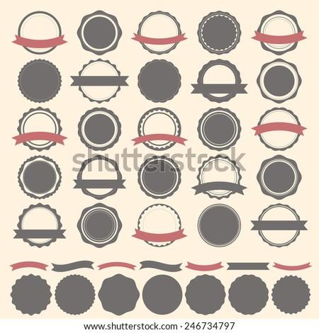 Set of vintage badges, labels and logo template. Vector design elements. Vector illustration - stock vector