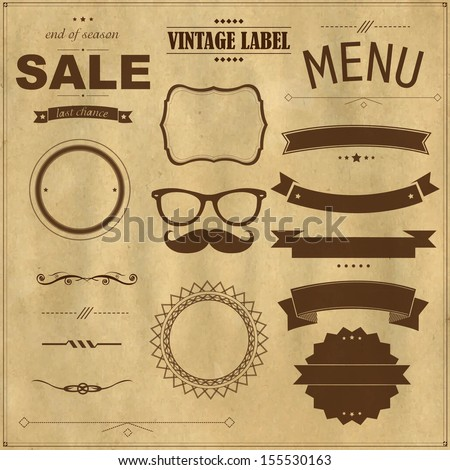 Set Of Vintage Badges With Paper Background, With Gradient Mesh, Vector Illustration - stock vector