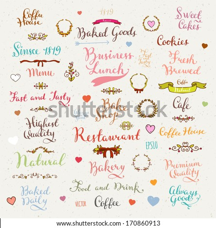 Set of vintage bakery badges, hand drawn lettering and labels for retro design - stock vector