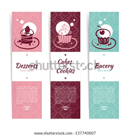 Set of vintage bakery banners with cupcakes. Menu for restaurant and cafe - stock vector