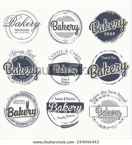 Set of vintage bakery grunge labels - stock vector