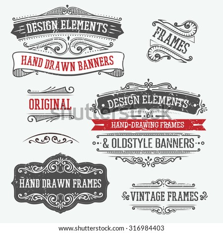 set of vintage banners, borders and frames - stock vector