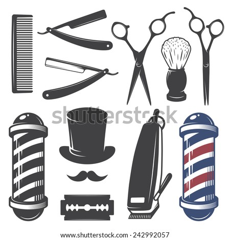 Barber Vector : ... vintage barber shop elements. Monochrome linear style - stock vector