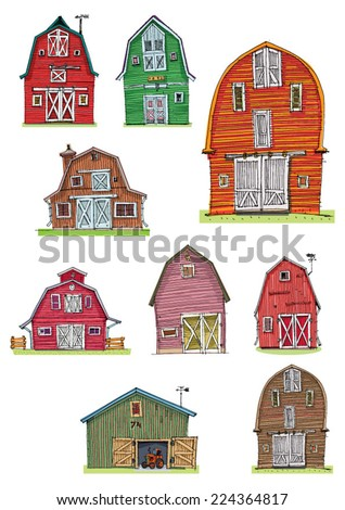 set of vintage barns - cartoon - stock vector