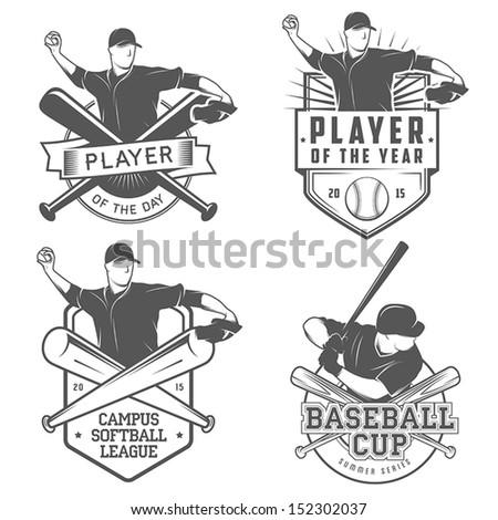 Set of vintage baseball labels and badges - stock vector