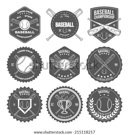Set of vintage baseball labels and badges. Vector illustration - stock vector