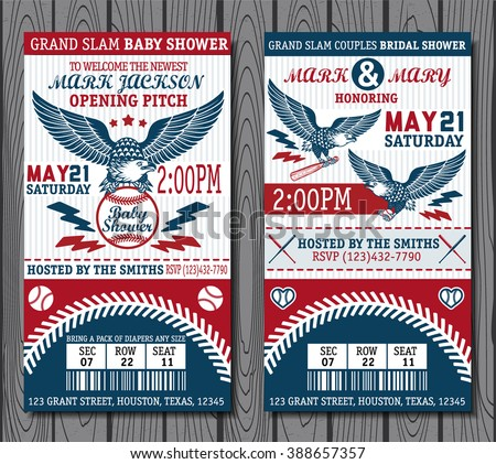 Set of vintage baseball tickets - stock vector