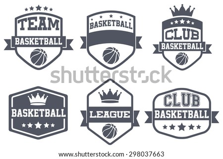 Set of Vintage Basketball Club Badge and Label with helmets. Emblem of sport team and event. Vector icons isolated on background. - stock vector