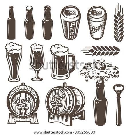 Set of vintage beer and brewery elements. Monochrome style. Isolated on white background. - stock vector