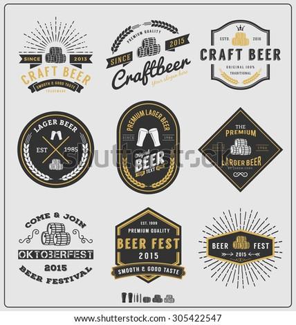 Set of vintage beer badge logo and labels template design.Vector illustration - stock vector