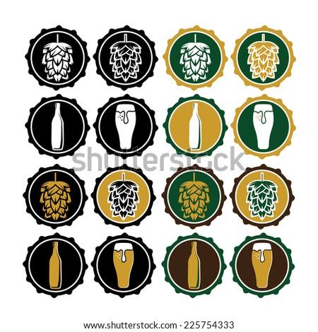 set of vintage beer cap labels - stock vector