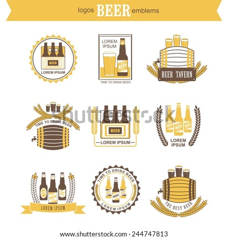 Set of vintage beer labels and design elements - stock vector