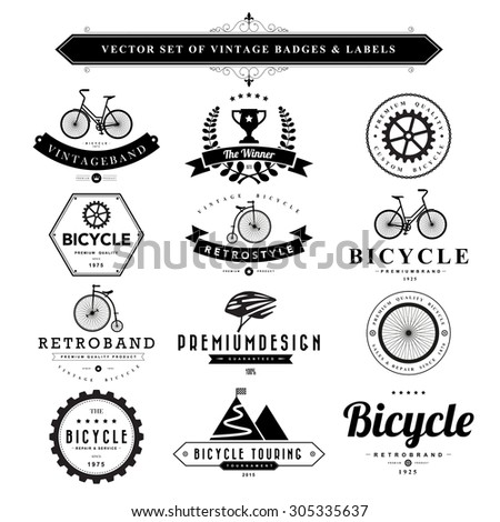 Set of vintage  bicycle badges and labels - stock vector