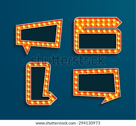 Set of vintage bilboards with arrow and place for text. Vector illustration. - stock vector