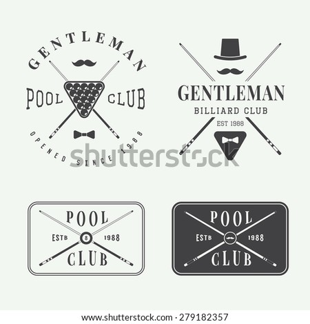 Set of vintage billiard labels, emblems and logos - stock vector