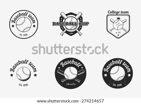 Set of vintage black and white baseball championship logo badges - stock vector