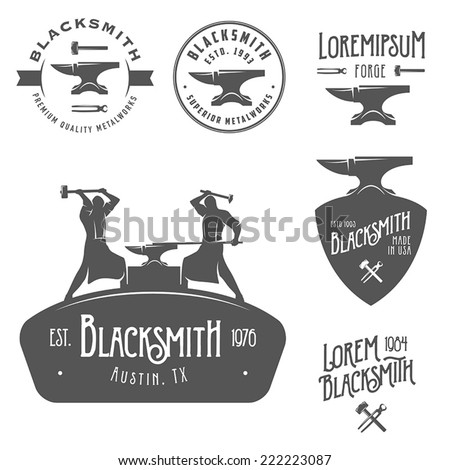 Set of vintage blacksmith labels and design elements - stock vector