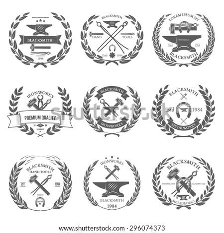 Set of vintage blacksmith labels and design elements vector illustration - stock vector
