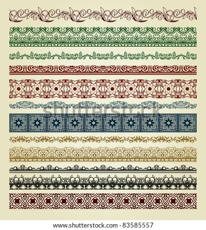 Set of vintage borders. Could be used as divider, frame, etc - stock vector