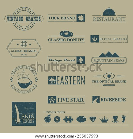 Set of Vintage brands and logo design Elements  - stock vector