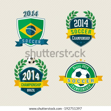 Set of vintage Brazil soccer champions labels. EPS10 vector organized in layers for easy editing. - stock vector