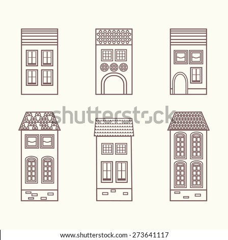 Set of vintage brick houses. Design elements. Vector. - stock vector
