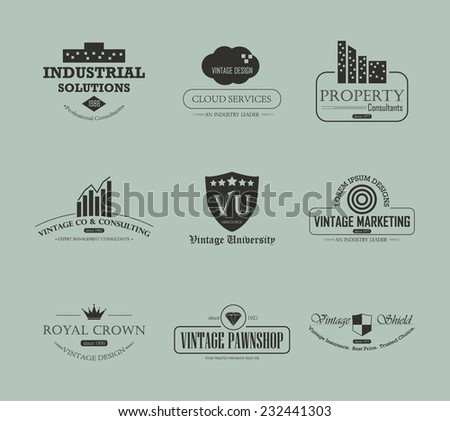 Set of vintage  business and industry logo design element - stock vector