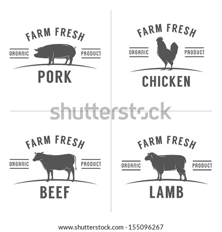 Set of vintage butchery meat stamps and labels - stock vector