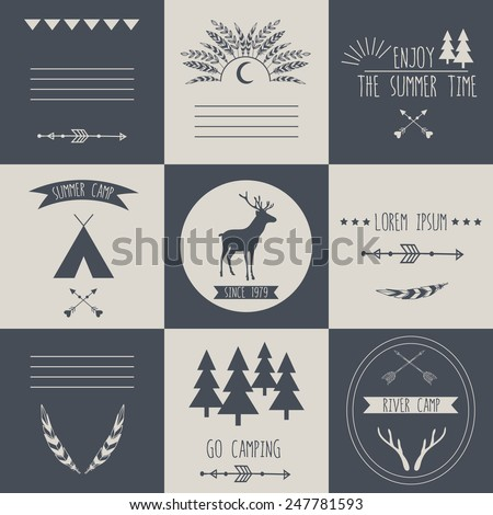 Set of vintage camping and outdoor activity logos. Vector logo templates and badges with forest, trees, feathers, arrows, tent, deer, antlers. National parks and nature exploration symbols. - stock vector