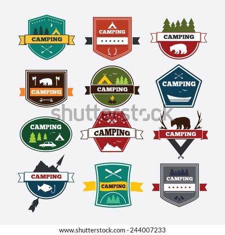 Set of vintage camping and outdoor activity logos. Vector logotypes and badges. National parks and nature exploration symbols. - stock vector