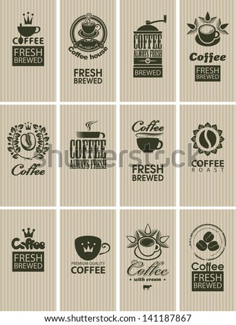 set of vintage cards on coffee - stock vector