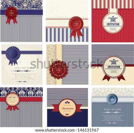 set of vintage cards,  postcards, announcement - stock vector